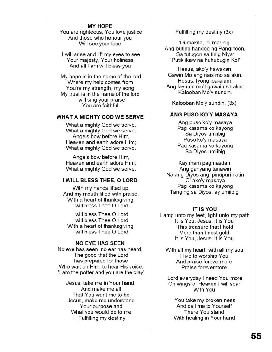 Songbook p 55 – Jesus the Healer Filipino Church
